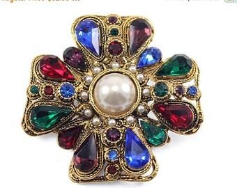 20% OFF SALE - Vintage SPHINX Multi-Colored Rhinestone and Faux Pearl Maltese Cross Brooch