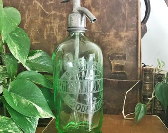 Antique French Green Glass Seltzer Bottle