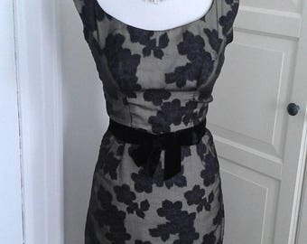 ON SALE 50s Wiggle Dress, Cocktail, Sheer Floral, Black Over Cream, Dress + Jacket, Bolero, Outfit, Size XS