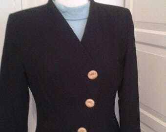 ON SALE 80s Yves Saint Laurent Jacket, Blazer, Black with Gold Buttons, Variation, Made in France, Size Medium