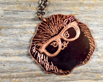 Hedgehog with Glasses Hand Engraved Necklace in Copper - Hand Sketched and Heat Patinaed Super Cute Animals with Glasses Line