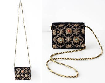 Small Crossbody Purse • Vintage Crossbody Bag • Indian Purse • Embroidered Purse • Black Evening Bag • Pouch Purse • Indian Bag | B914