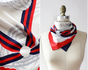 60s Mod Cloud Scarf • Vintage Silk Scarf • Silk Neck Scarf • Silk Scarf Vintage • Mod Scarf • White Silk Scarf • Red White and Blue  | SC271