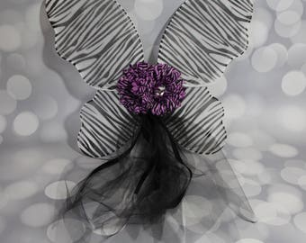 Girls Fairy Wings, Children's Butterfly Wings, Pixie Wings, Black and White Zebra Print Wings, Play Wings, Black Daisy, FW1702