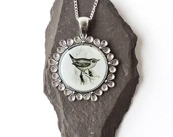 Jenny Wren Necklace, Black & White Wren Pendant, Jenny Jewellery, Bird Animal Jewellery, Resin Jewellery, Wren Jewellery, UK Seller