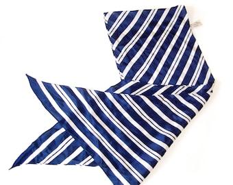 1980s Silk Scarf  -  Blue and White Stripes - Michelle Stuart -  Vintage.