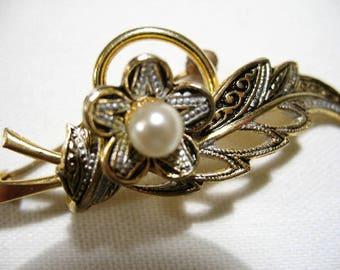 Vintage Damascene Leaf Brooch with Faux Pearl