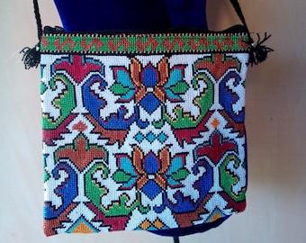 Uzbek silk hand embroidered bag Mascot. Cross stitch embroidery. B001