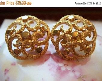 ANNIVERSARY SALE Crown Trifari Gold Swirl Earrings