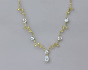 Gold Necklace, Gold Bridal Necklace, Crystal Wedding Necklace, Gold Bridal Jewelry, Pearl Drop Necklace, Gold Bridesmaid Necklace, VINE 2G