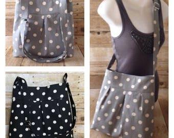 Dot Crossbody Bag - Black or Grey - with adjustable strap - Fabric Messenger Bag