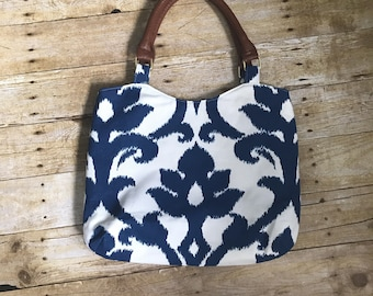 SALE!  Navy Blue and White Fabric Purse with matching wrist keychain  - modern ikat floral fabric with faux leather handles - Large Handbag