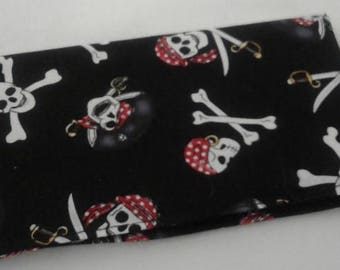 Pirates Skulls Bones Checkbook Cover Coupon Holder Clutch Purse Billfold Ready-Made