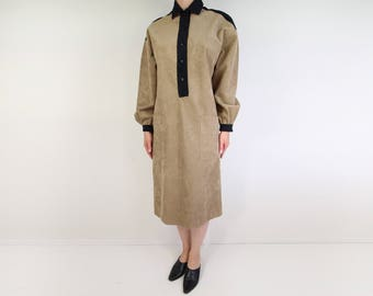 VINTAGE Dress 1970s Ultrasuede Brown Black Shirt Dress Medium