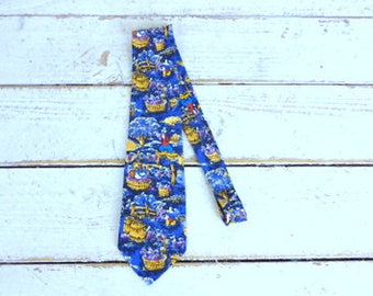 Vintage blue Disney Mickey/Donald Duck/Goofy silk necktie/Mickey and Co silk tie/cartoon character neck tie