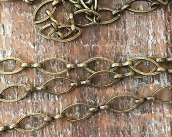 SALE Vintage Style Solid brass NAVETTE antique brass patina plating rustic chain round links