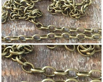 ON SALE Oval rolo chain 2x3mm soldered solid brass PETITE antique Brass plating