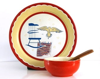 Large Patriotic Tray / Red White and Blue Wall Decor / Vintage Americana