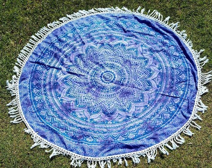 Lavendar Mandala Roundie with White Fringe Mandala Tapestry Beach Blanket Yoga Mat Meditation Mat Dorm Decor Hippie Tapestry