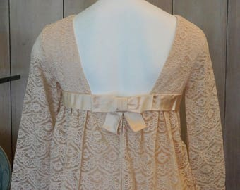 Free Shipping! CAROL BRENT 60's Blush Lace Dress with Bow Detail in the Back