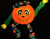 Funky Vintage Marked 1976 Articulated Beistle Jack-O-Lantern Scarecrow Halloween Deco - New (#1)