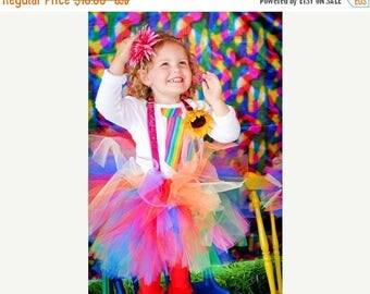 Summer sale Clown Tutu - SEWN tutu - Rainbow tutu,  Circus Tutu, Clown Party Tutu, Circus Birthday Tutu