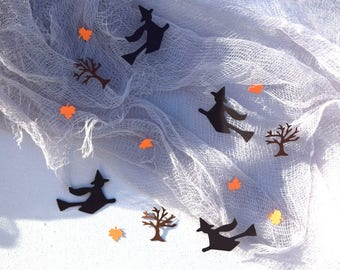 Witches trees leaves Halloween party confetti cardstock black orange brown table scatter witch decor paper cutouts paper confetti October