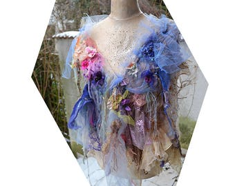 Shabby Chic Romantic Pastel Cape/Shawl/Poncho Gipsy Forest  PERIWINKLE GIRL Antoinette Antique Deatails  Fairy BohoTattered
