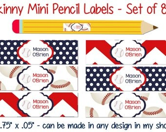 Skinny Pencil Labels, Waterproof stickers, Waterproof labels, Name Labels, Dishwasher Safe Daycare Label, School Labels, Baseball Labels