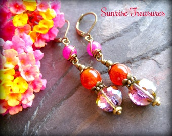 Wire Wrapped Gemstone and Crystal Drop Earrings, Golden Orange Crackle Agate, Hot Pink Jade, Brass, Colorful Gemstone Jewelry