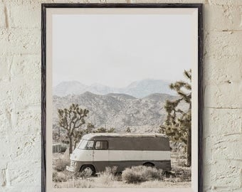 FLASH SALE til MIDNIGHT Retro Van near Joshua Tree FineArt Photograph ,Decorating Ideas, Wall Decor, Wall Art, Gift Ideas, Home Decor, Photo