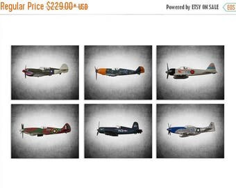 FLASH SALE til MIDNIGHT Vintage Wwii Airplanes Setof 6 Canvas Prints, Airplane Wall decor, Boys Room Decor, Airplane Wall Art