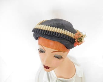 1950s cocktail hat, woman's vintage navy blue, pink flowers