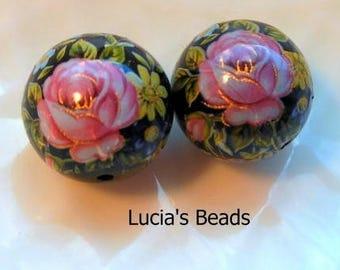 Gorgeous Pair Pink Rose on Black Japanese Tensha Beads 14 MM  (TBPR1010)