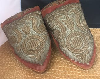 Gold Bullion wire Middle Eastern India Slipper Shoes