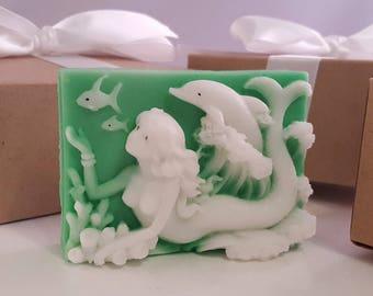 Mermaid dolphin soap bar - stocking stuffer for women - stocking stuffer for teen girls - stocking stuffer for her - gift for girls