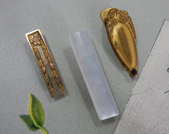 3 Vintage 1920 Etched Gold & Mother of Pearl Lingerie Clips Lot