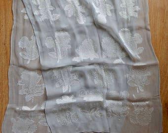 Gray Silk Crepe Scarf w/ Embroidered White chrysanthemum Flower Design