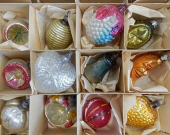 12 Antique Feather Tree Mercury Glass POLAND Figural Christmas Tree Ornaments in Original Box    OAZ25