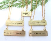 Brass stamped Necklace - charm necklace - funny necklace