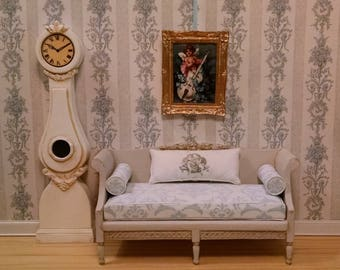Gustavian Settee in Aged Gray Finish Miniature Dollhouse Furniture Scale 1:12