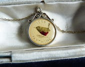 Vintage Queen Elizabeth 1954 Enamelled Wren Farthing Coin Pendant in London Hallmarked Silver Mount with Chain