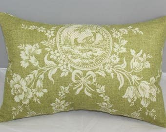 Lumbar Pillow  Waverly Dill Green and Beige Country House Toile    14 x 9 inches