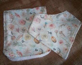 Bandana Bib and Burping Cloth Set, Burping Set, Shower Gift, Newborn, Gift Set, Trendy