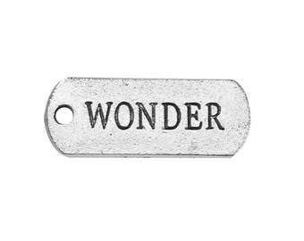 """10 pcs. Antique Silver """"Wonder"""" Rectangle Charms Pendants - 21mm x 8mm"""