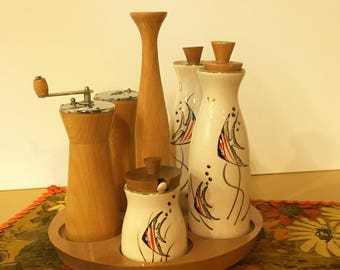 Mid-century Atomic Condiment Set Ceramic and Wood 1950s Woodpecker Woodware Caddy