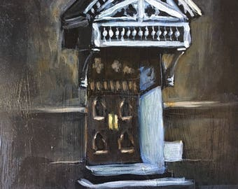 "French Quarter Door 5x7"" Original Oil Painting on Panel"
