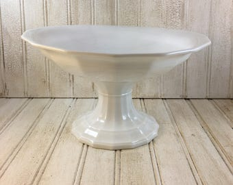 Vintage Shabby Chic Footed Pedestal Ironstone Compote