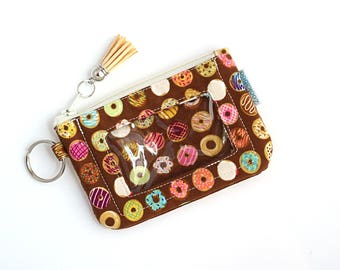 Student ID Holder - Donut Bag - Cute Wallet - Slim Wallet - ID Wallet Keychain - Donut Wallet - College Student Gift - Ready to Ship