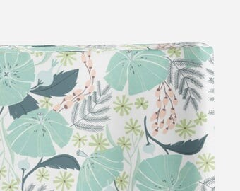 floral changing pad cover, perch floral, contoured changing pad cover, baby girl nursery, floral nursery, green changing pad cover